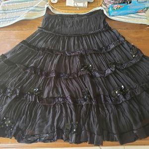 Black SILK skirt Gypsy boho  2X